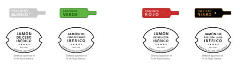 Etiquettes colorées pour différentes qualités de jambon ibérique